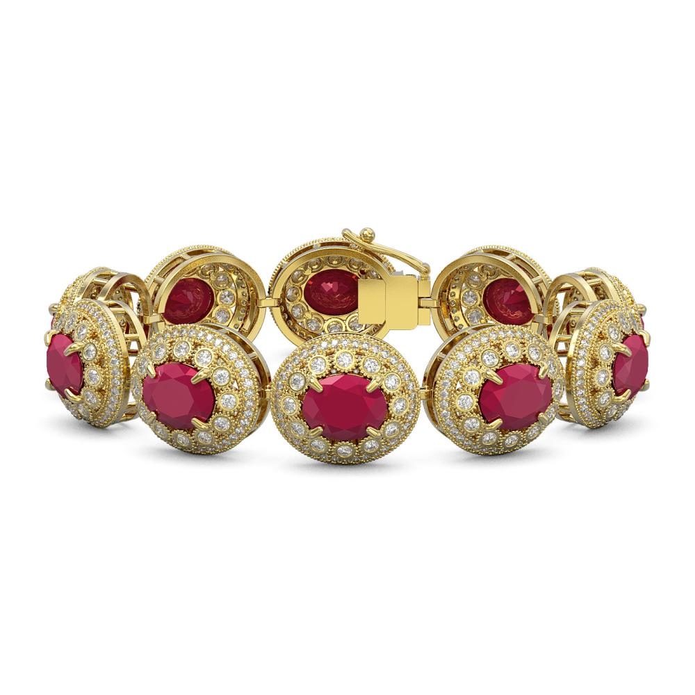 49.17 CTW Ruby & Diamond Victorian Bracelet 14K Yellow Gold - REF-1369W3G - SKU:43714