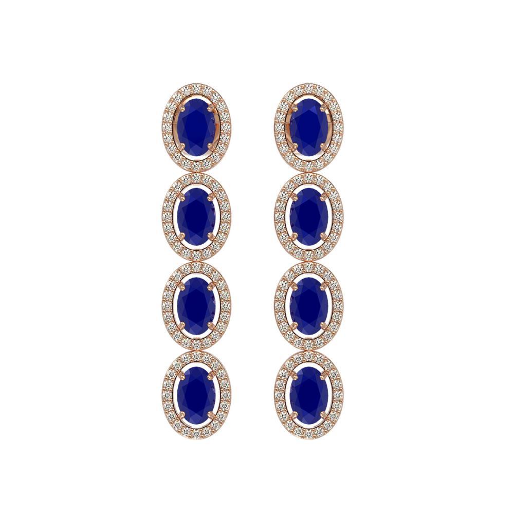 6.47 CTW Sapphire & Diamond Halo Earrings Rose Gold - REF-125Y5K - SKU:40509
