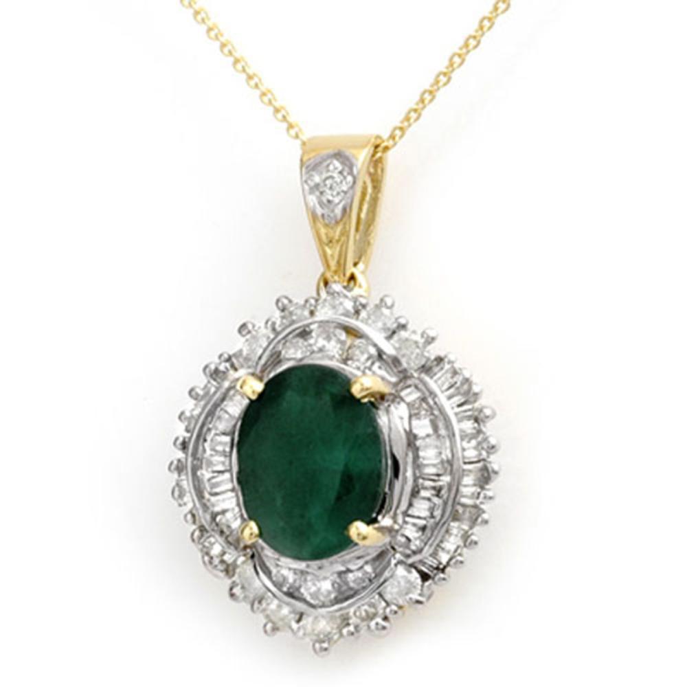 5.35 CTW Emerald & Diamond Pendant 14K Yellow Gold - REF-180F2V - SKU:13008