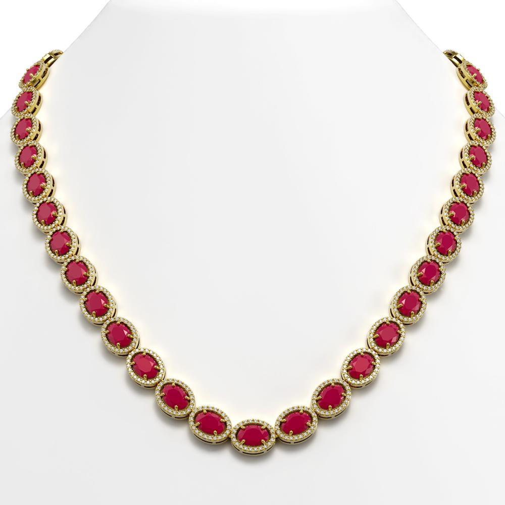 52.15 CTW Ruby & Diamond Halo Necklace Yellow Gold - REF-763A6X - SKU:40558