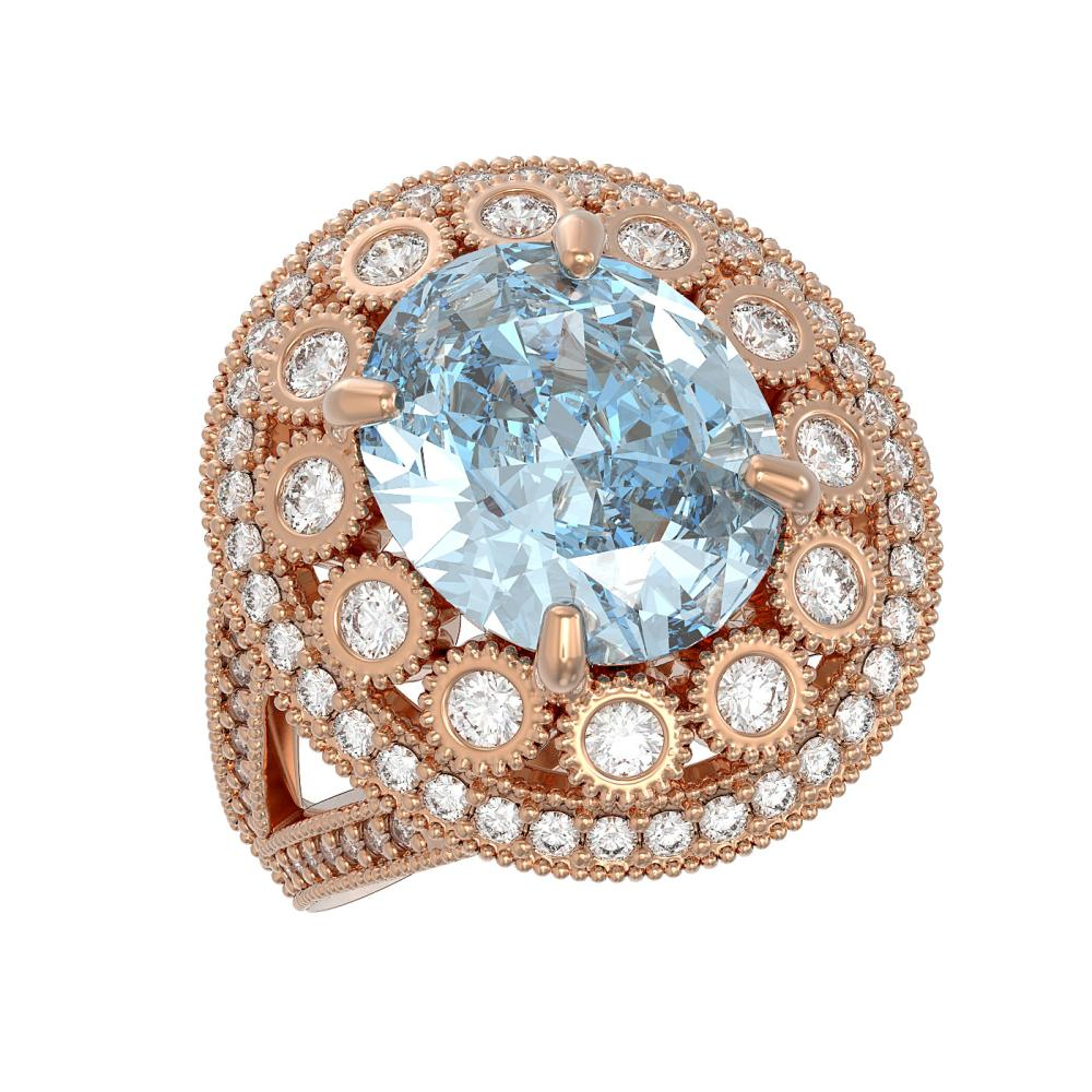 6.96 CTW Aquamarine & Diamond Victorian Ring 14K Rose Gold - REF-237A5X - SKU:43749