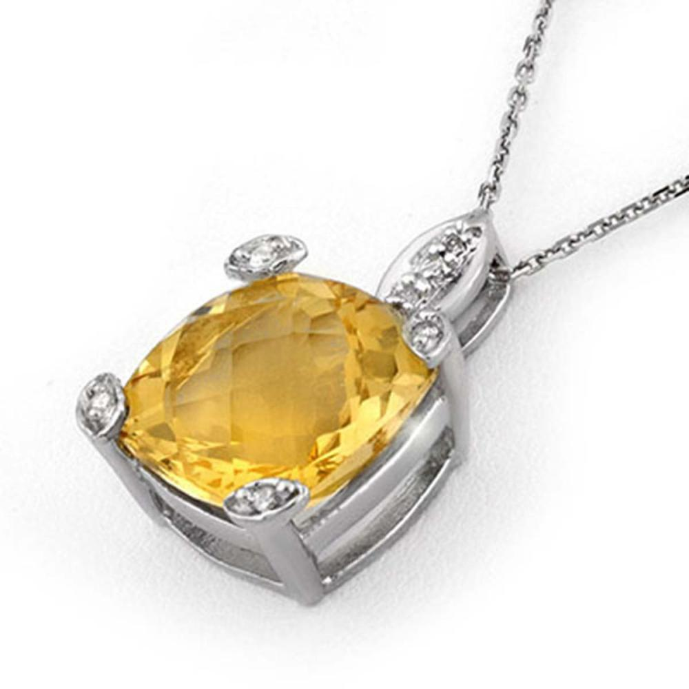 7.10 CTW Citrine & Diamond Necklace 18K White Gold - REF-48Y2K - SKU:11622
