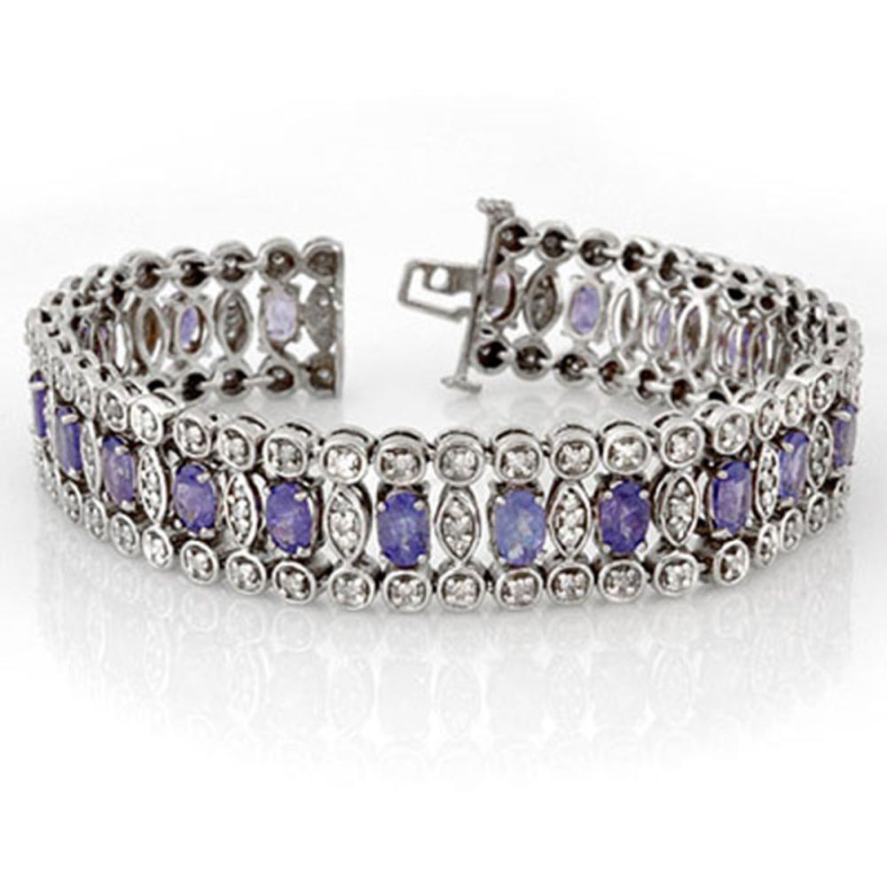 17.50 CTW Tanzanite & Diamond Bracelet 14K White Gold - REF-460F9V - SKU:11197