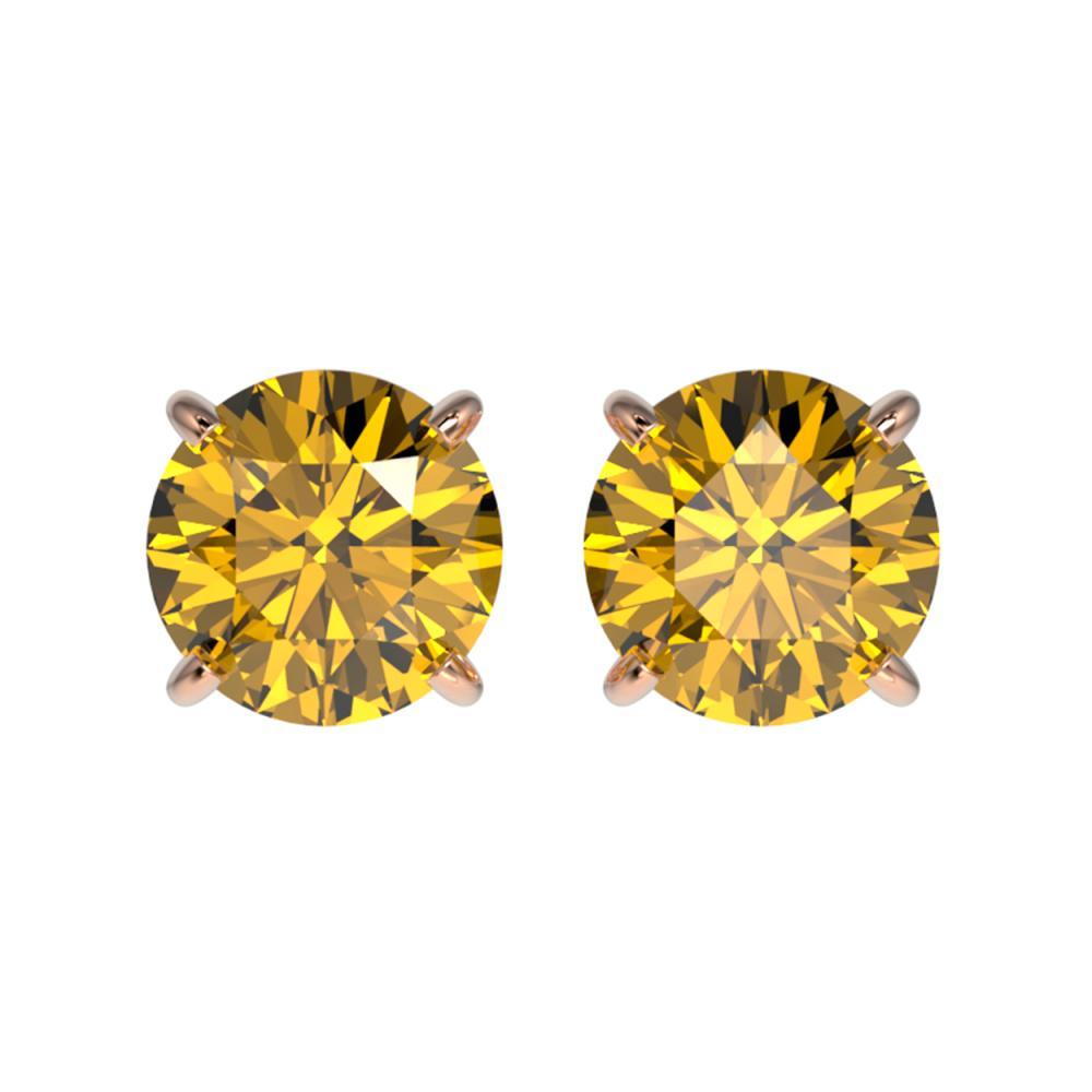 1.54 CTW Intense Yellow SI Diamond Stud Earrings Gold - REF-192N2A - SKU:36620