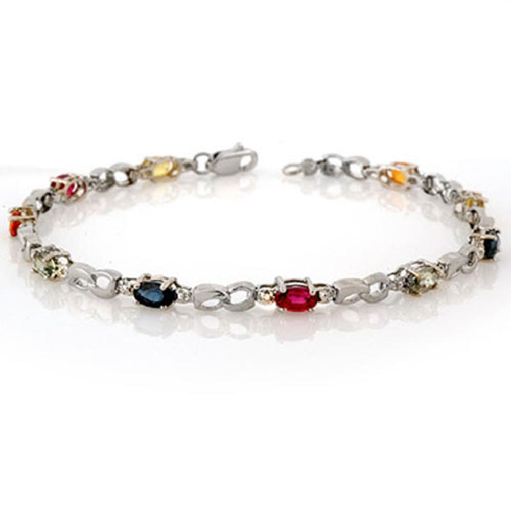 3.51 CTW Multi-Sapphire & Diamond Bracelet 18K White Gold - REF-70V9Y - SKU:11205