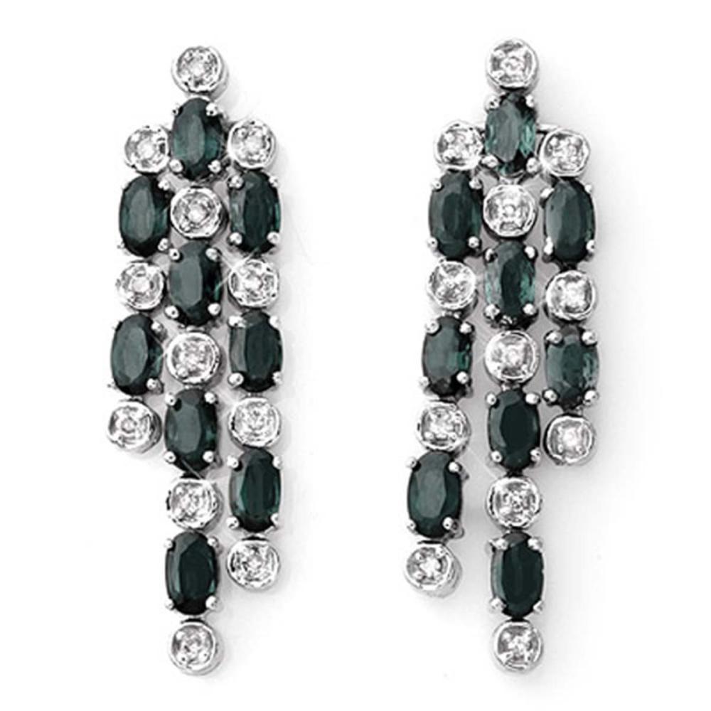 6.33 CTW Blue Sapphire & Diamond Earrings 14K White Gold - REF-82G9N - SKU:10395