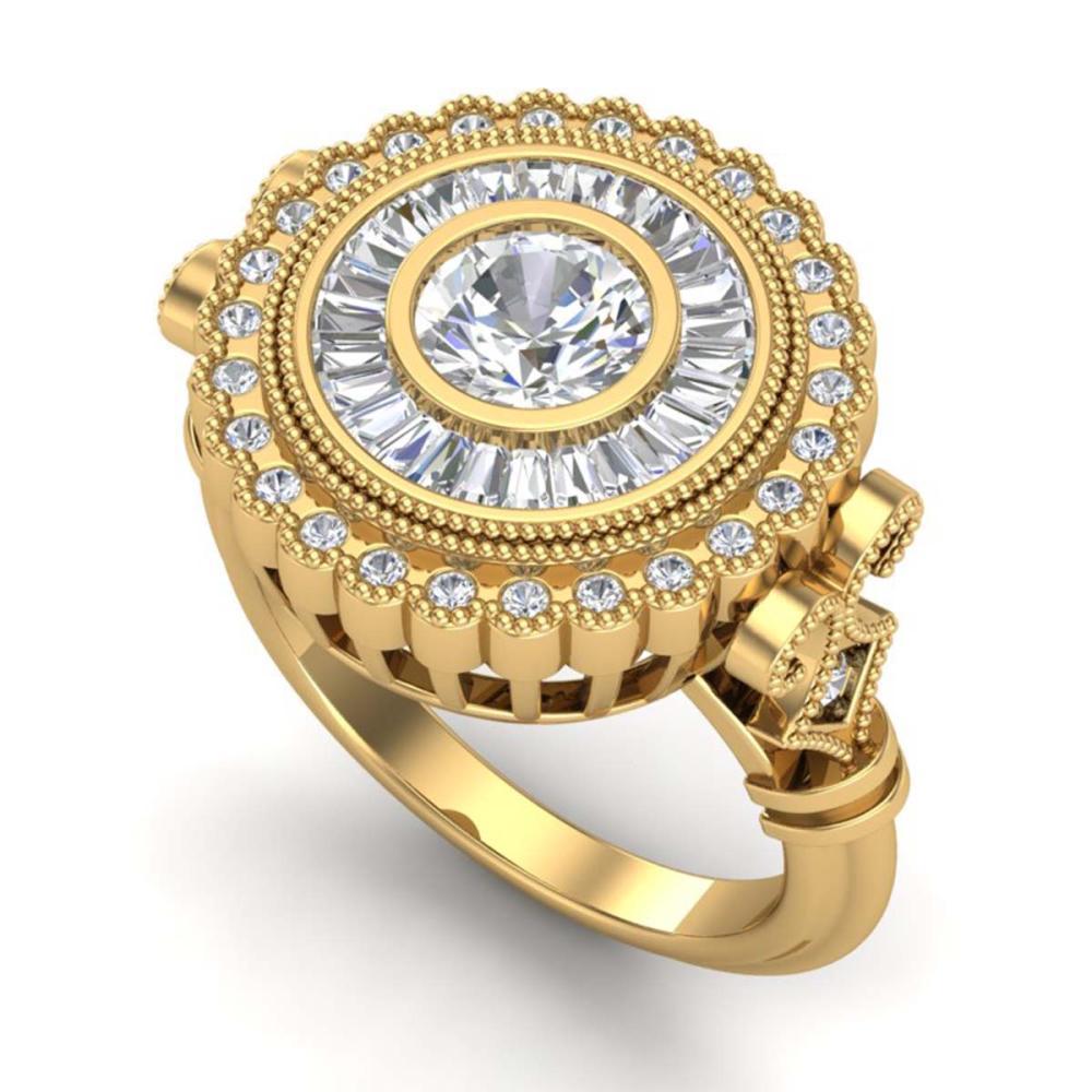 2.03 CTW VS/SI Diamond Solitaire Art Deco Ring 18K Gold - REF-327Y3K - SKU:37081