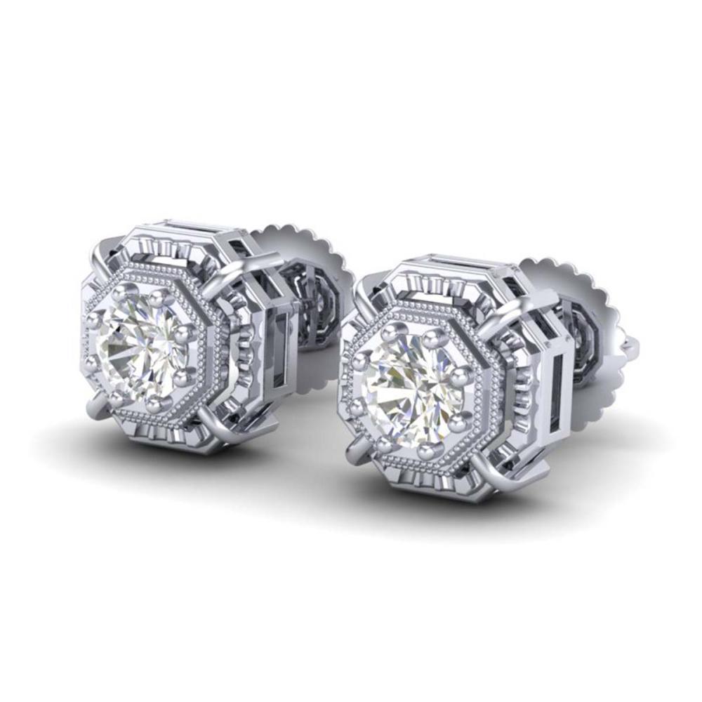 1.11 CTW VS/SI Diamond Solitaire Stud Earrings 18K Gold - REF-254F5V - SKU:36875