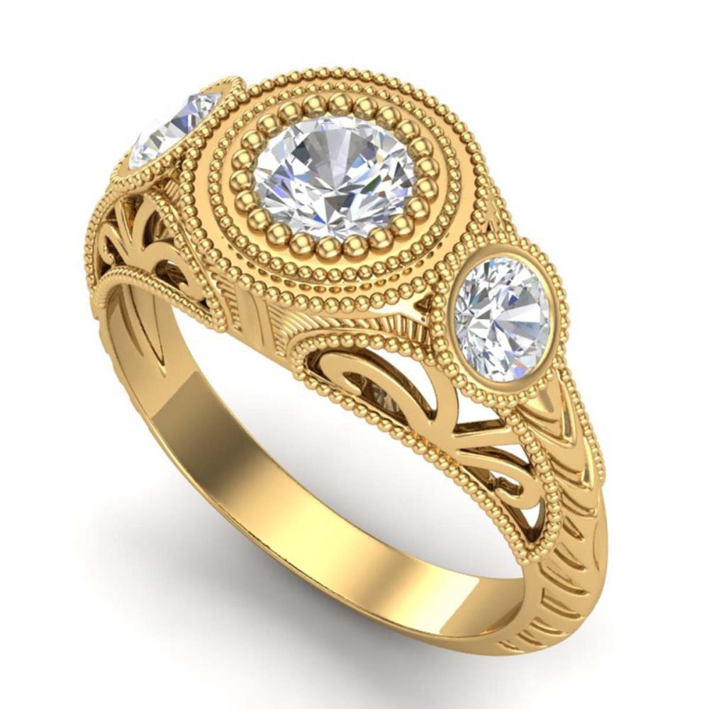 1.06 CTW VS/SI Diamond Solitaire 3 Stone Ring 18K Gold - REF-180W2G - SKU:36895