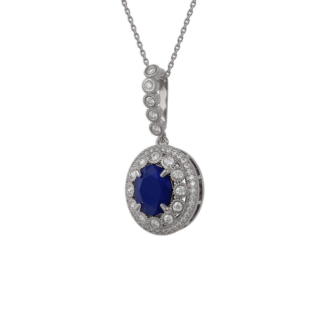4.67 CTW Sapphire & Diamond Necklace 14K White Gold - REF-133M5F - SKU:43661