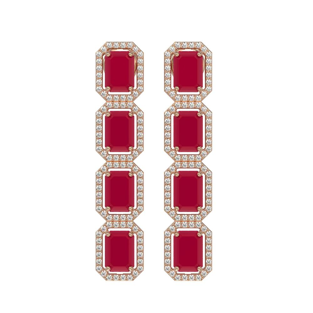 12.33 CTW Ruby & Diamond Halo Earrings Rose Gold - REF-168R2H - SKU:41430