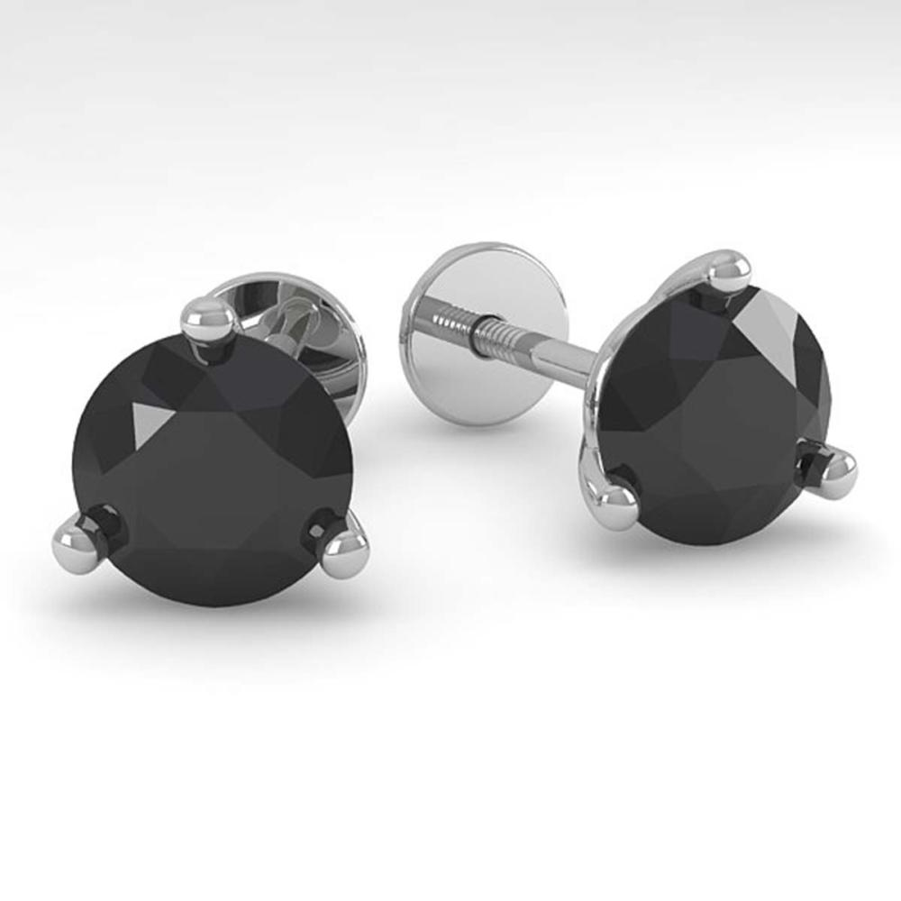 2.0 CTW Black Diamond Stud Earrings Martini 18K Gold - REF-56G3N - SKU:32220