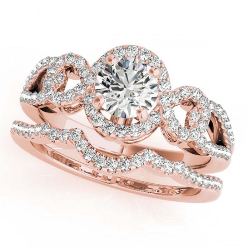 1.55 CTW VS/SI Diamond 2Pc Wedding Set Halo 14K Gold - REF-389G3N - SKU:31083