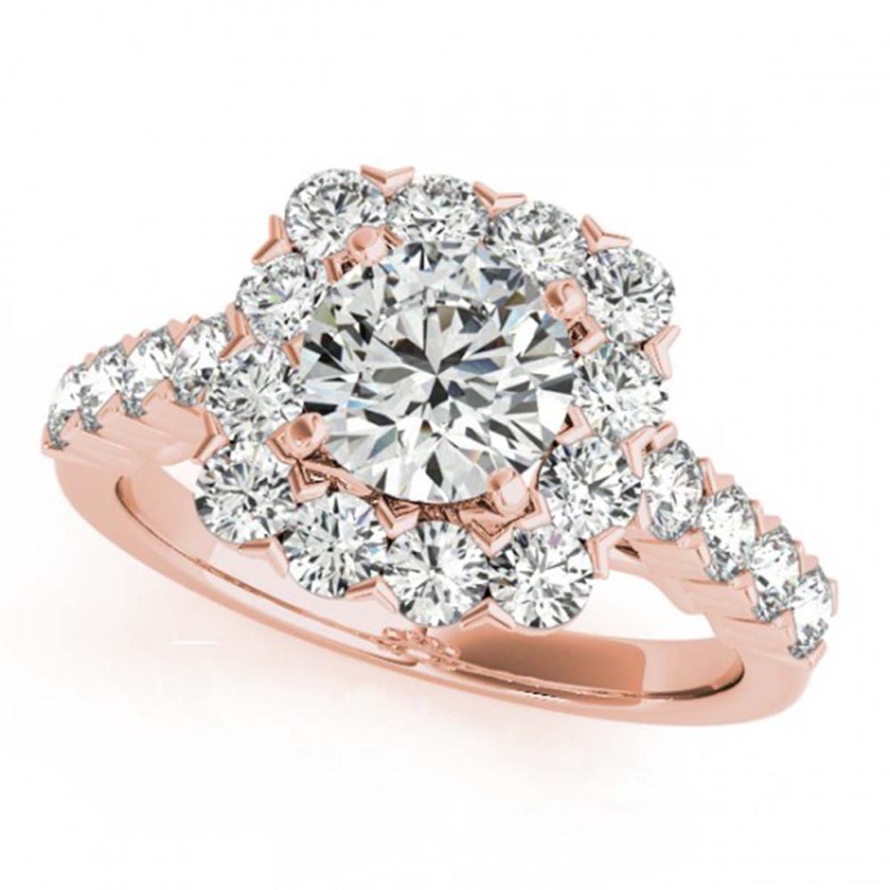 2.5 CTW VS/SI Diamond Solitaire Halo Ring 18K Rose Gold - REF-472R7H - SKU:26213