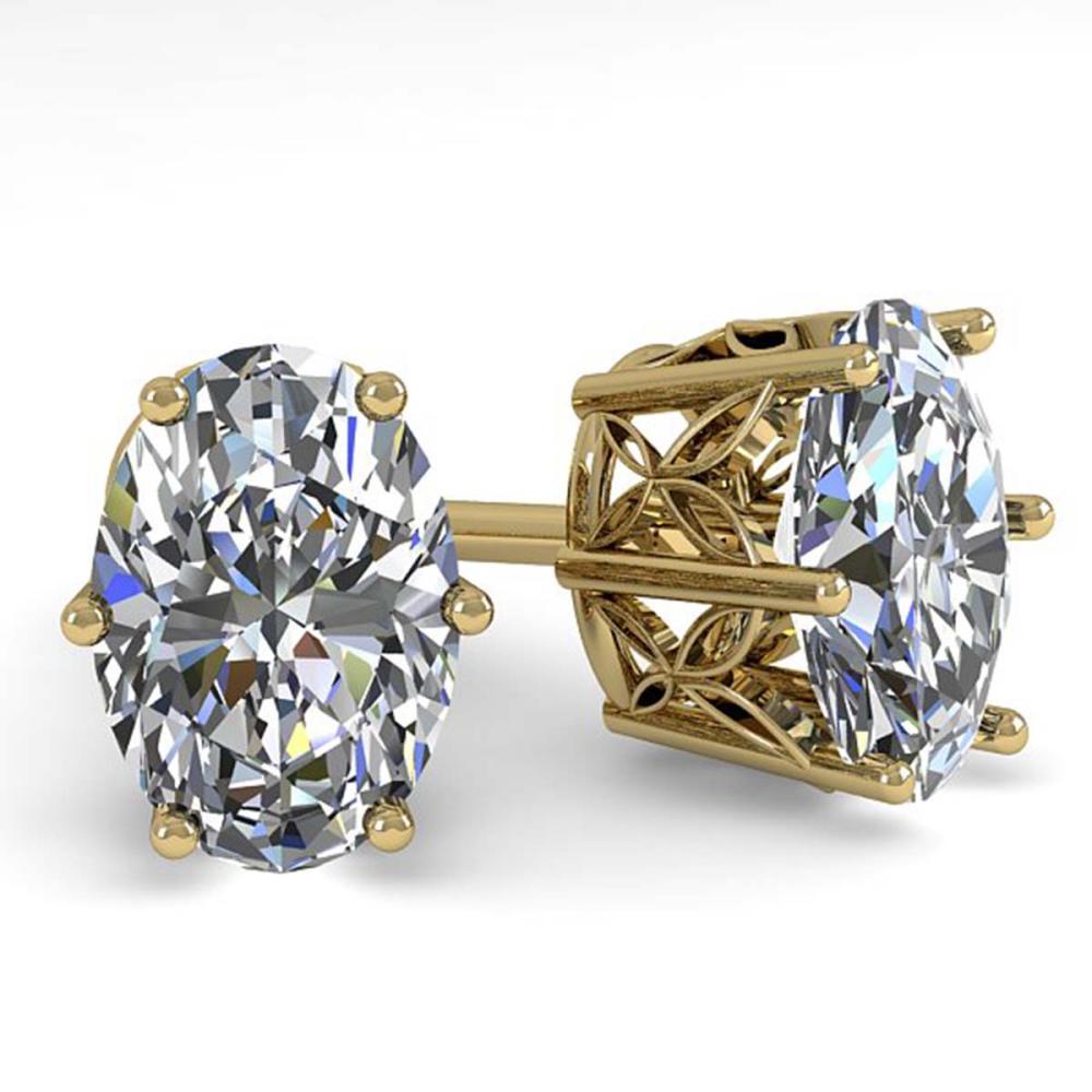 1.0 CTW VS/SI Oval Diamond Stud Earrings 18K Yellow Gold - REF-147W2G - SKU:35827