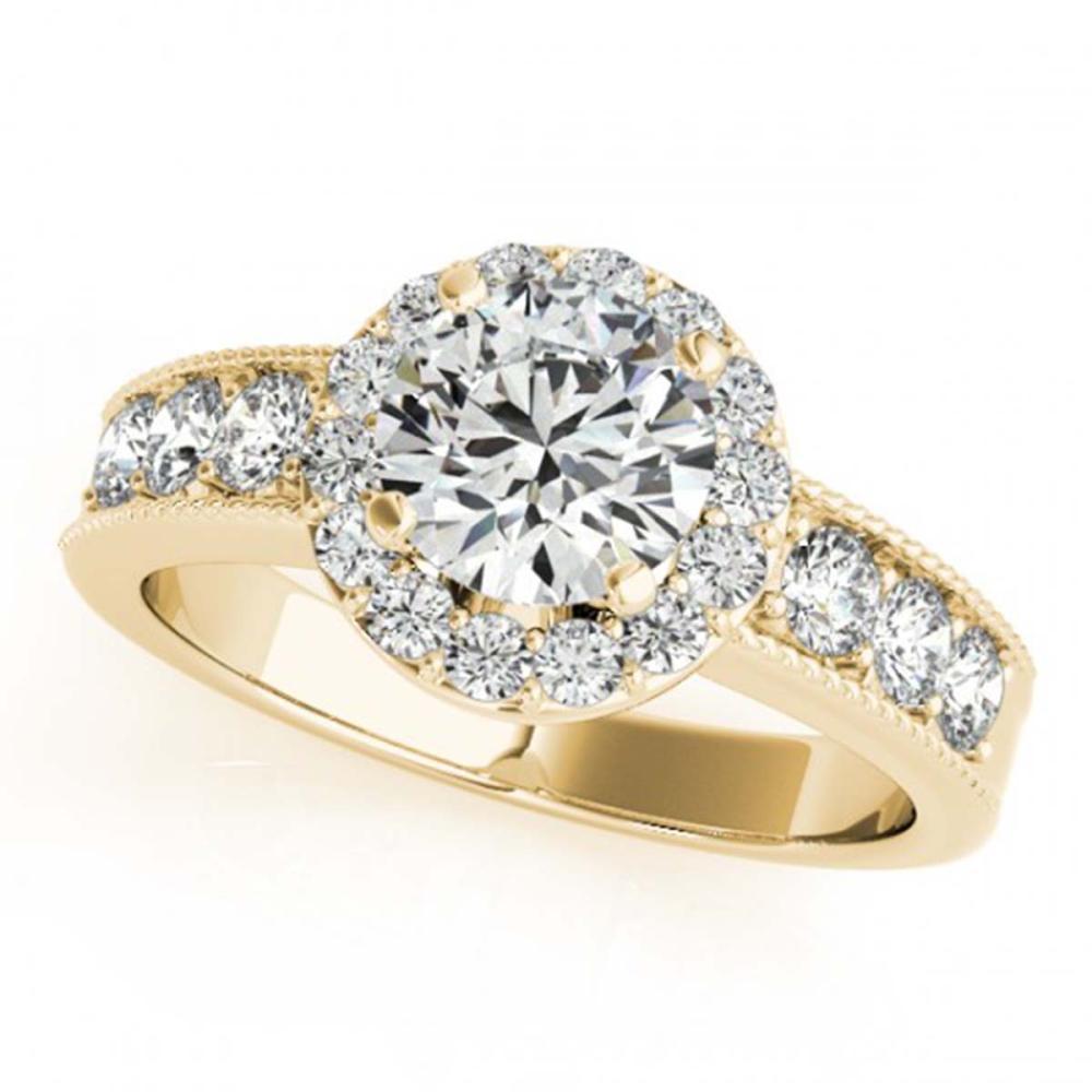 1.60 CTW VS/SI Diamond Solitaire Halo Ring 18K Yellow Gold - REF-250M9F - SKU:27062