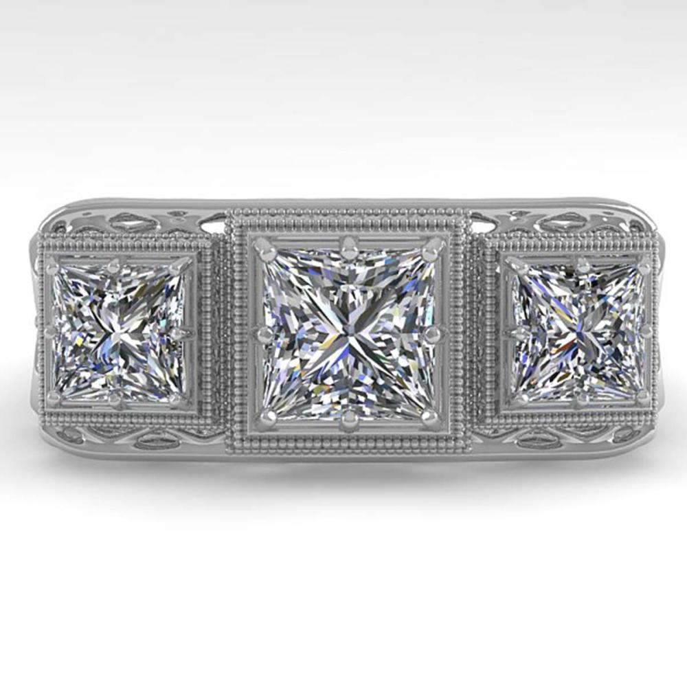 2 CTW Past Present Future Princess Diamond Ring 18K Deco Gold - REF-481H6M - SKU:36069