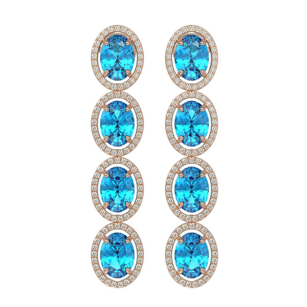 14.76 CTW Swiss Topaz & Diamond Halo Earrings Rose Gold - REF-141X3R - SKU:40779