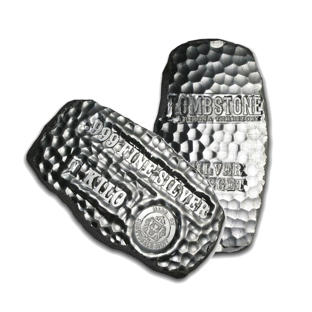 One piece 1 kilo 0.999 Fine Silver Bar Tombstone Silver Nugget-83861