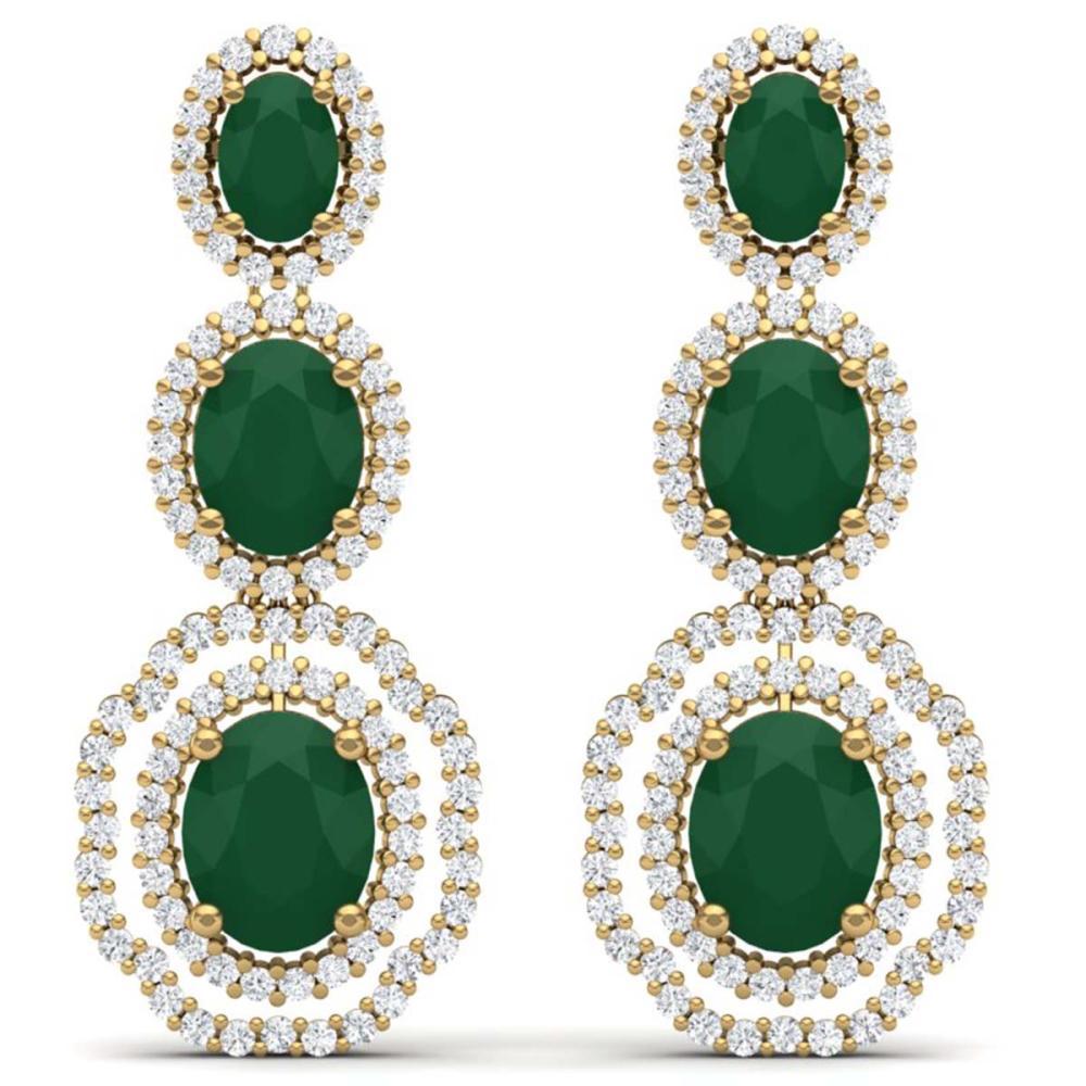 17.01 CTW Royalty Emerald & VS Diamond Earrings 18K Gold - REF-418K2W - SKU:39203