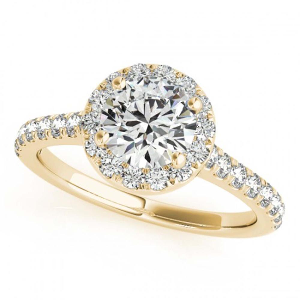 1.70 CTW VS/SI Diamond Solitaire Halo Ring 18K Yellow Gold - REF-428X5R - SKU:26397