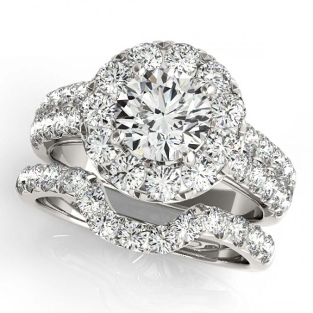 2.06 CTW VS/SI Diamond 2Pc Wedding Set Halo 14K Gold - REF-236M4F - SKU:30882