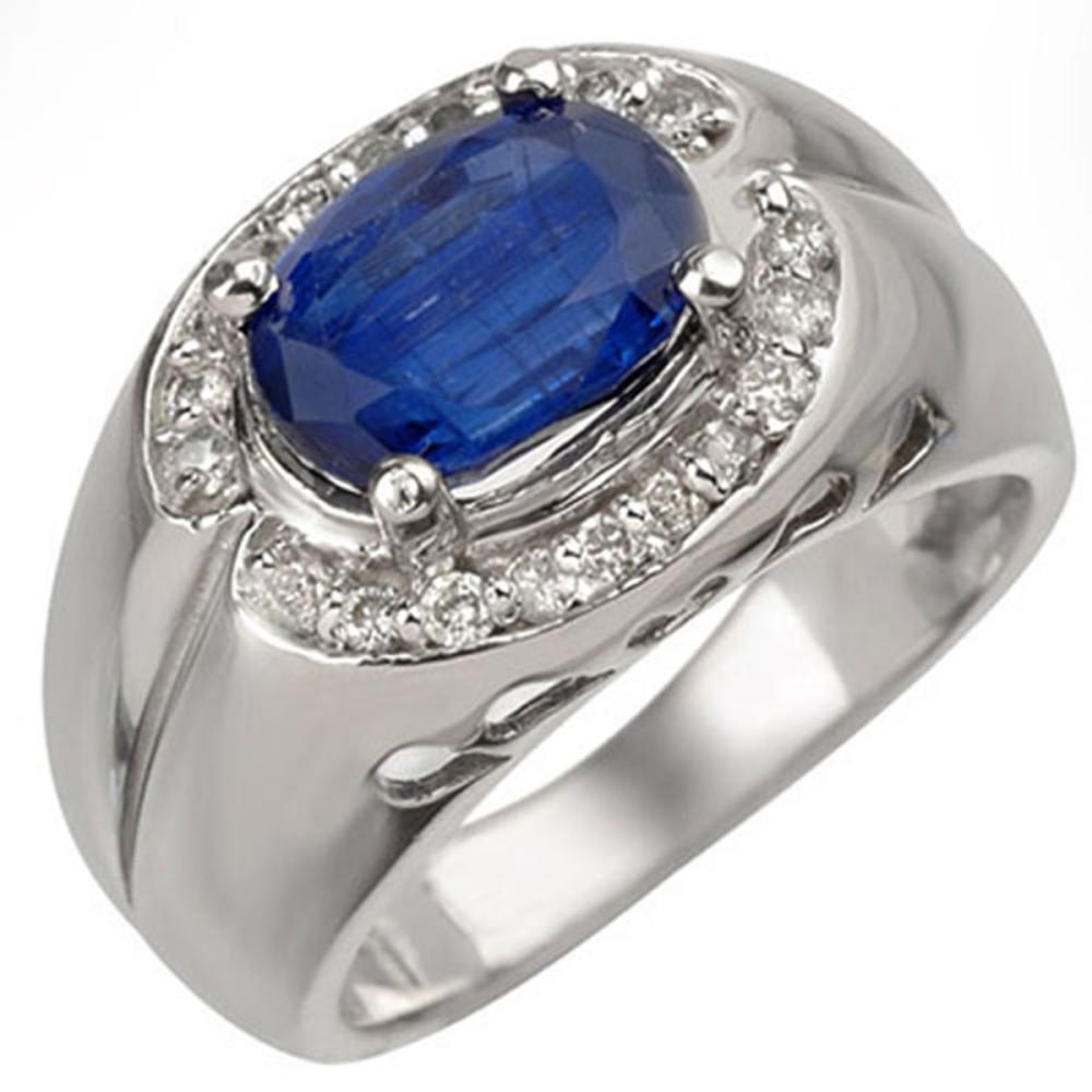 3.33 CTW Kyanite & Diamond Ring 10K White Gold - REF-96R4H - SKU:10876