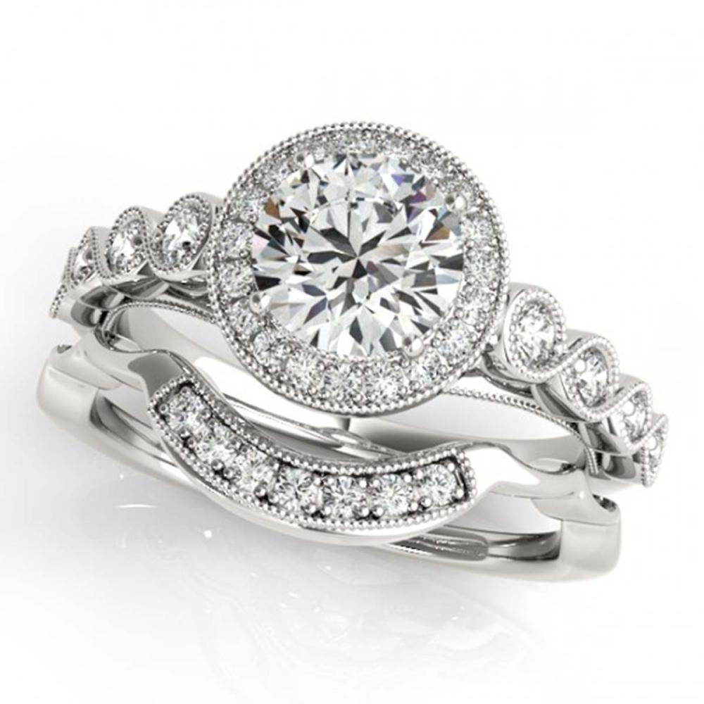 1.60 CTW VS/SI Diamond 2Pc Wedding Set Halo 14K Gold - REF-402M4F - SKU:30849