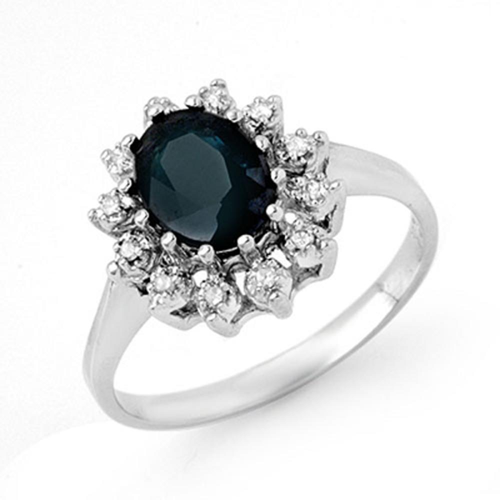 2.04 CTW Blue Sapphire & Diamond Ring 18K White Gold - REF-50G9N - SKU:13070
