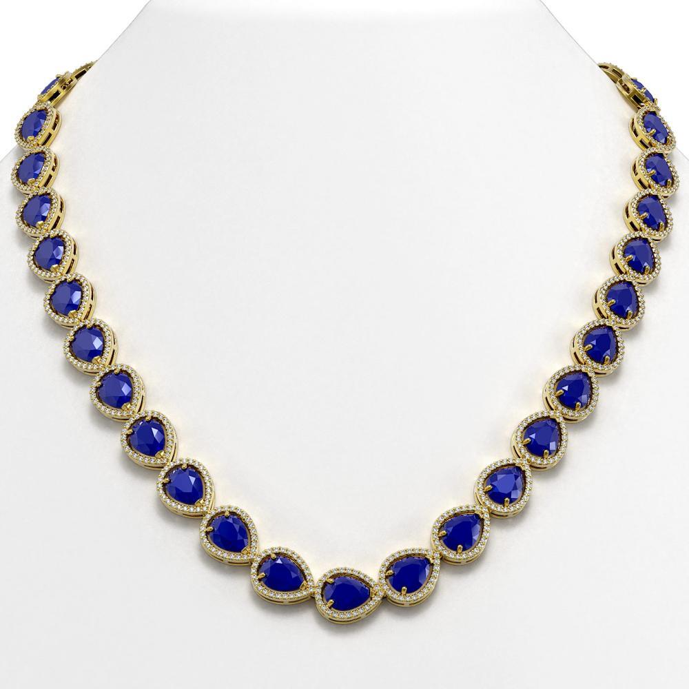 64.01 CTW Sapphire & Diamond Halo Necklace Yellow Gold - REF-733K5W - SKU:41194