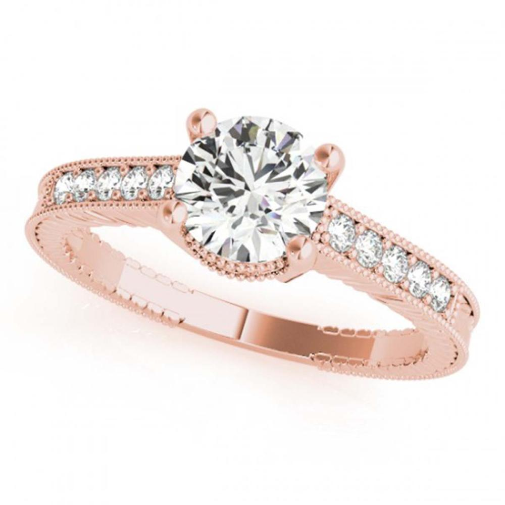 0.97 CTW VS/SI Diamond Solitaire Antique Ring 18K Rose Gold - REF-202H2M - SKU:27388