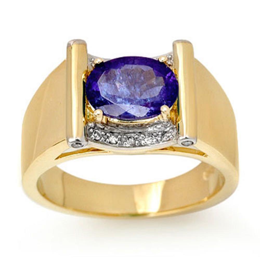 2.18 CTW Tanzanite & Diamond Men's Ring 10K Yellow Gold - REF-69M3F - SKU:13491