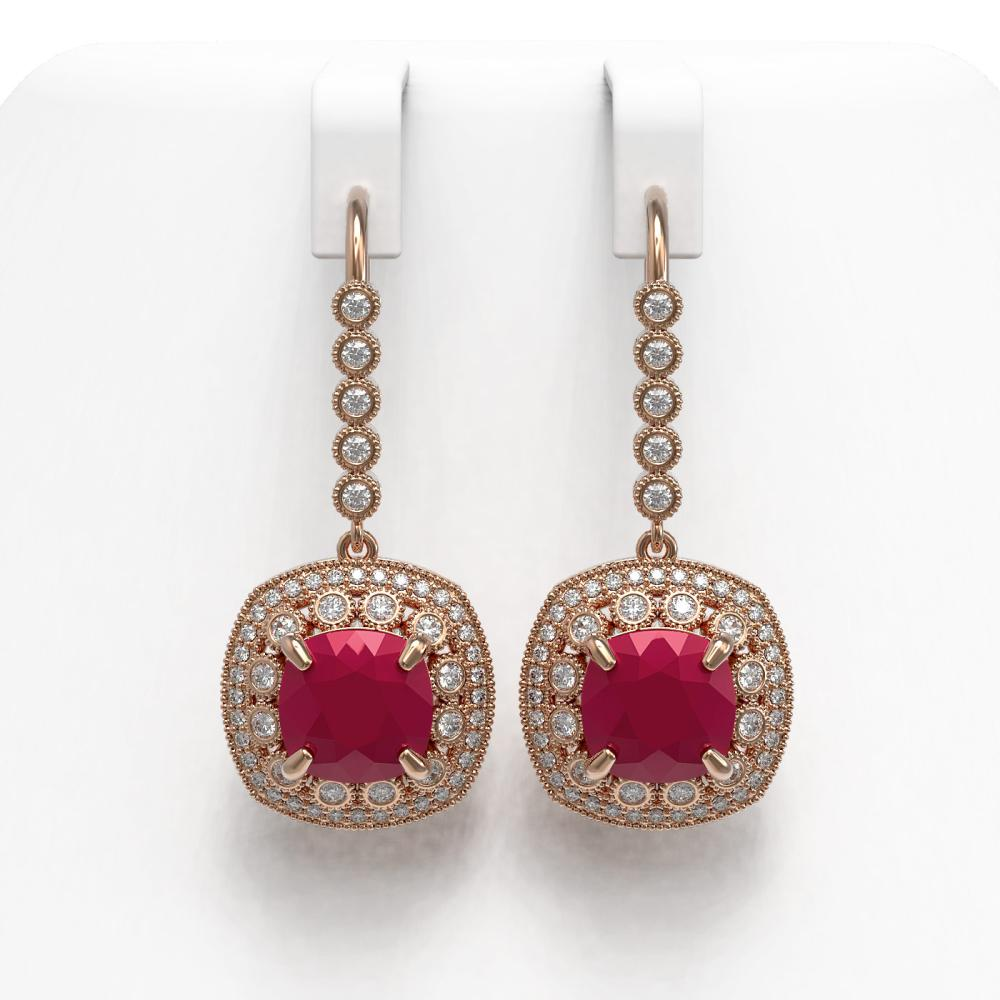 12.9 CTW Ruby & Diamond Victorian Earrings 14K Rose Gold - REF-257N3A - SKU:43956