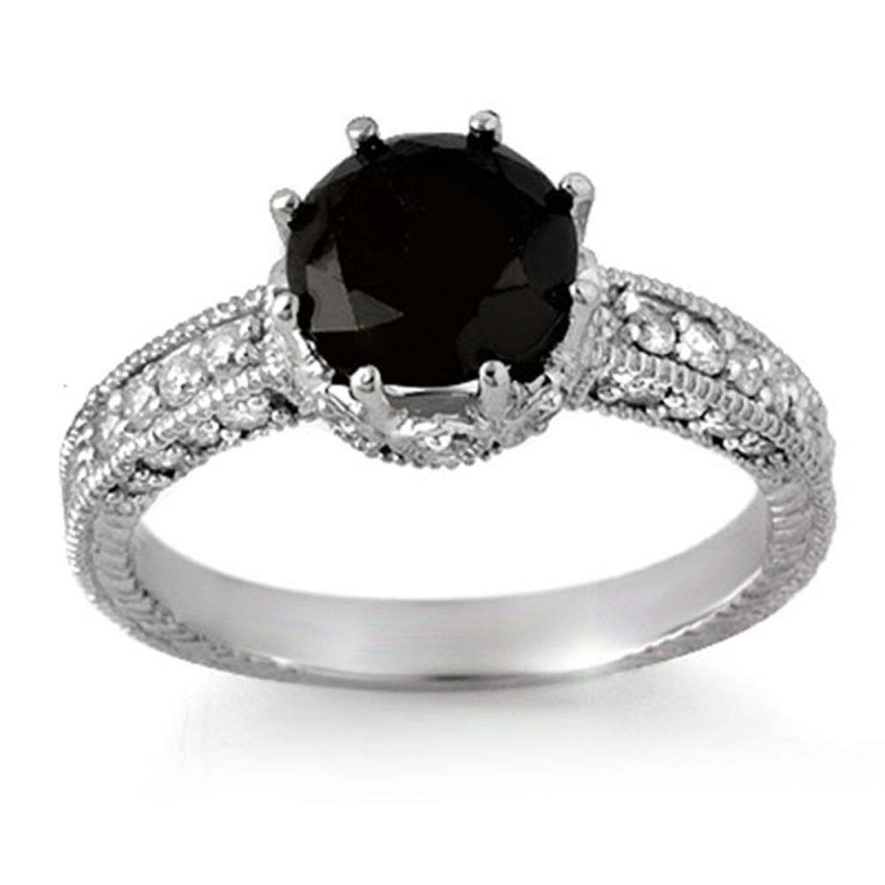 2.0 CTW VS Black & White Diamond Ring 18K White Gold - REF-104W5G - SKU:11810