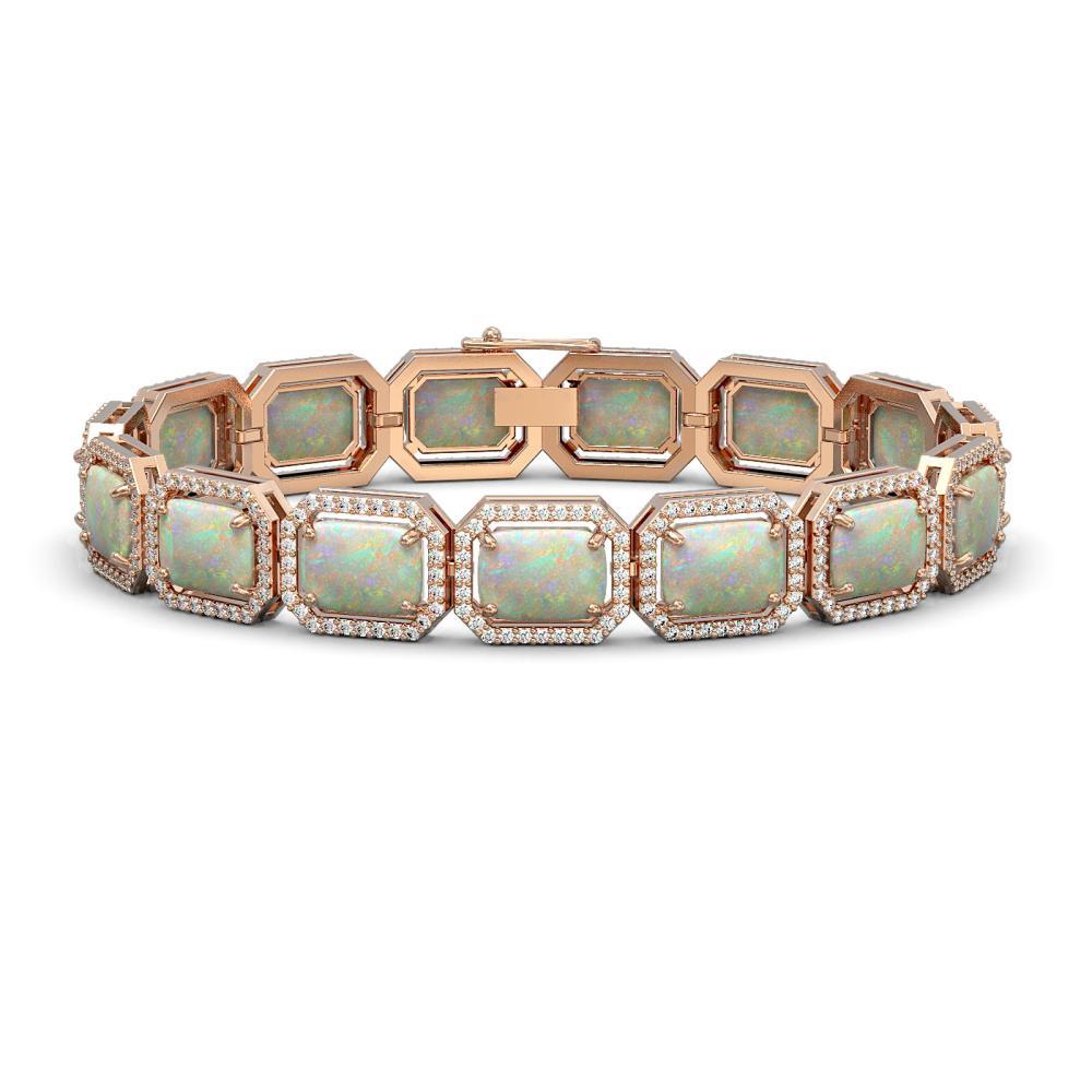 24.37 CTW Opal & Diamond Halo Bracelet Rose Gold - REF-372M7F - SKU:41538