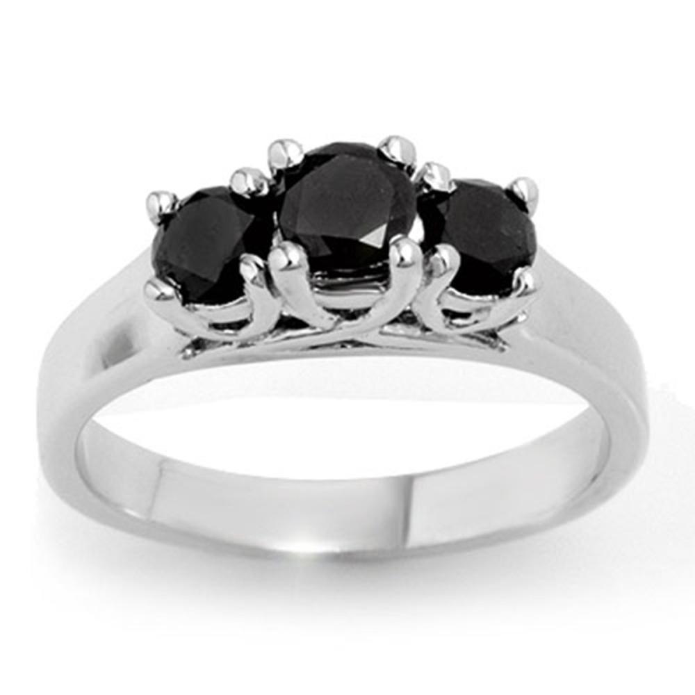 0.55 CTW VS Black Diamond 3 Stone Ring 18K White Gold - REF-54V5Y - SKU:13841