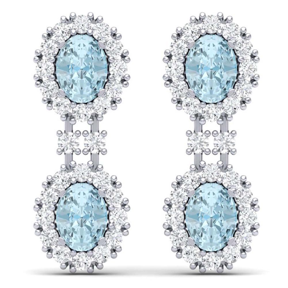 8.8 CTW Royalty Sky Topaz & VS Diamond Earrings 18K Gold - REF-223N6A - SKU:38820