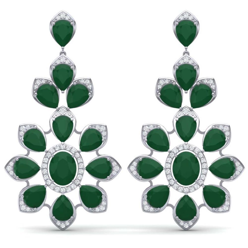 51.8 CTW Royalty Emerald & VS Diamond Earrings 18K Gold - REF-527X3R - SKU:39045