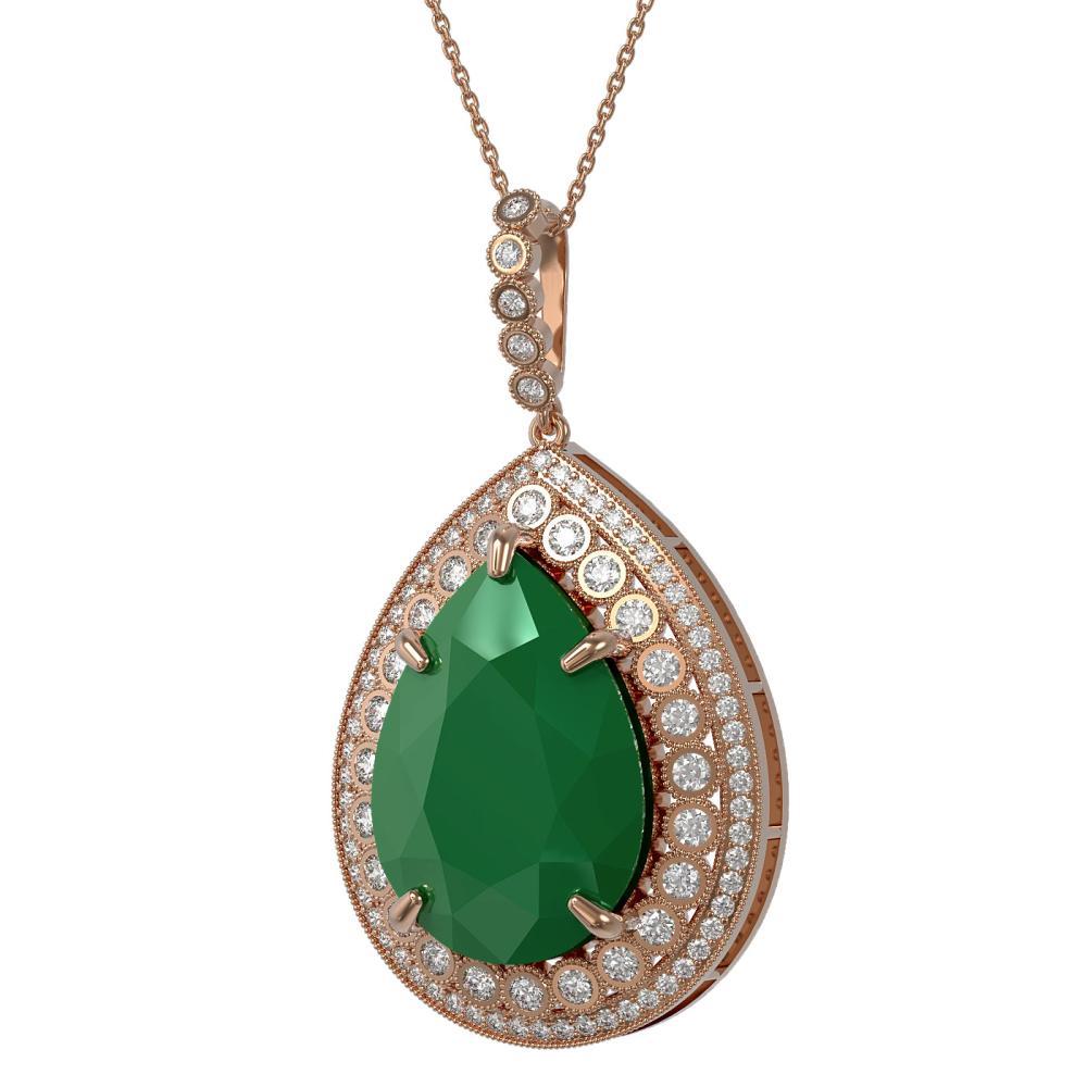 42.84 CTW Emerald & Diamond Necklace 14K Rose Gold - REF-830K4W - SKU:43350