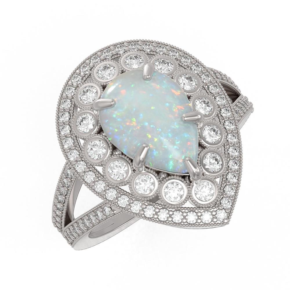 4.19 CTW Opal & Diamond Victorian Ring 14K White Gold - REF-148F2V - SKU:43136