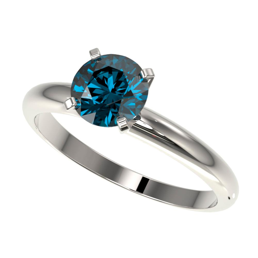 1.27 CTW Intense Blue SI Diamond Solitaire Ring Gold - REF-147A7X - SKU:36431