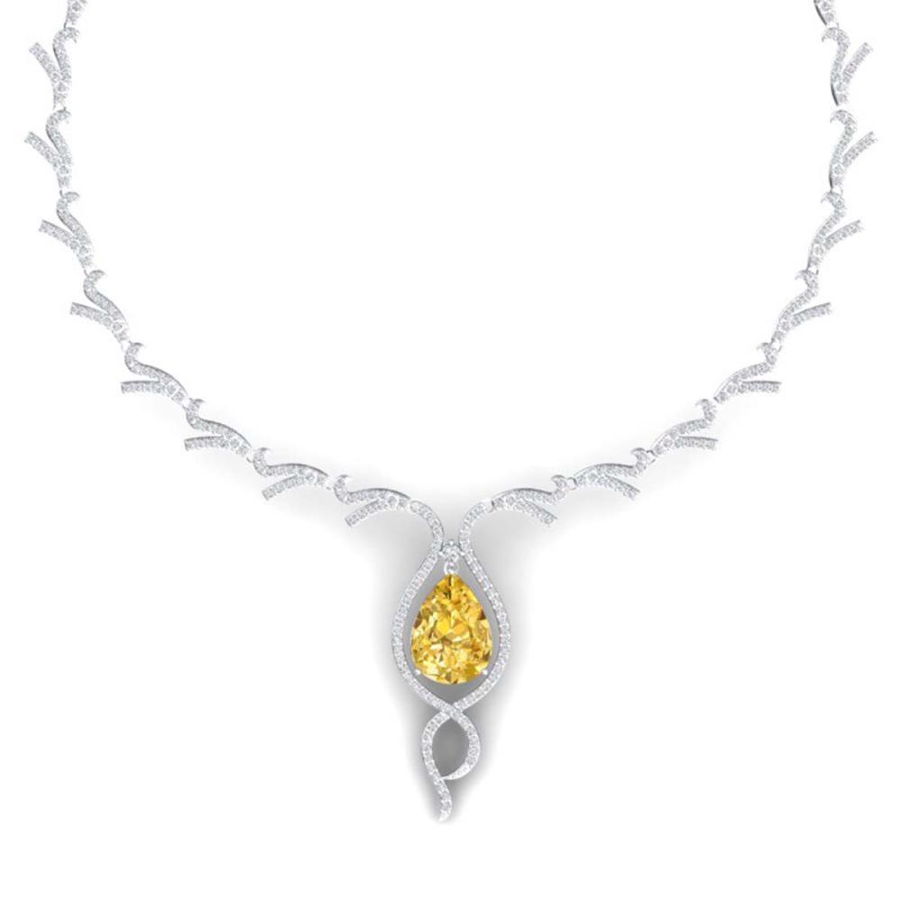 23.02 CTW Canary Citrine & VS Diamond Necklace 18K Gold - REF-800G2N - SKU:39507