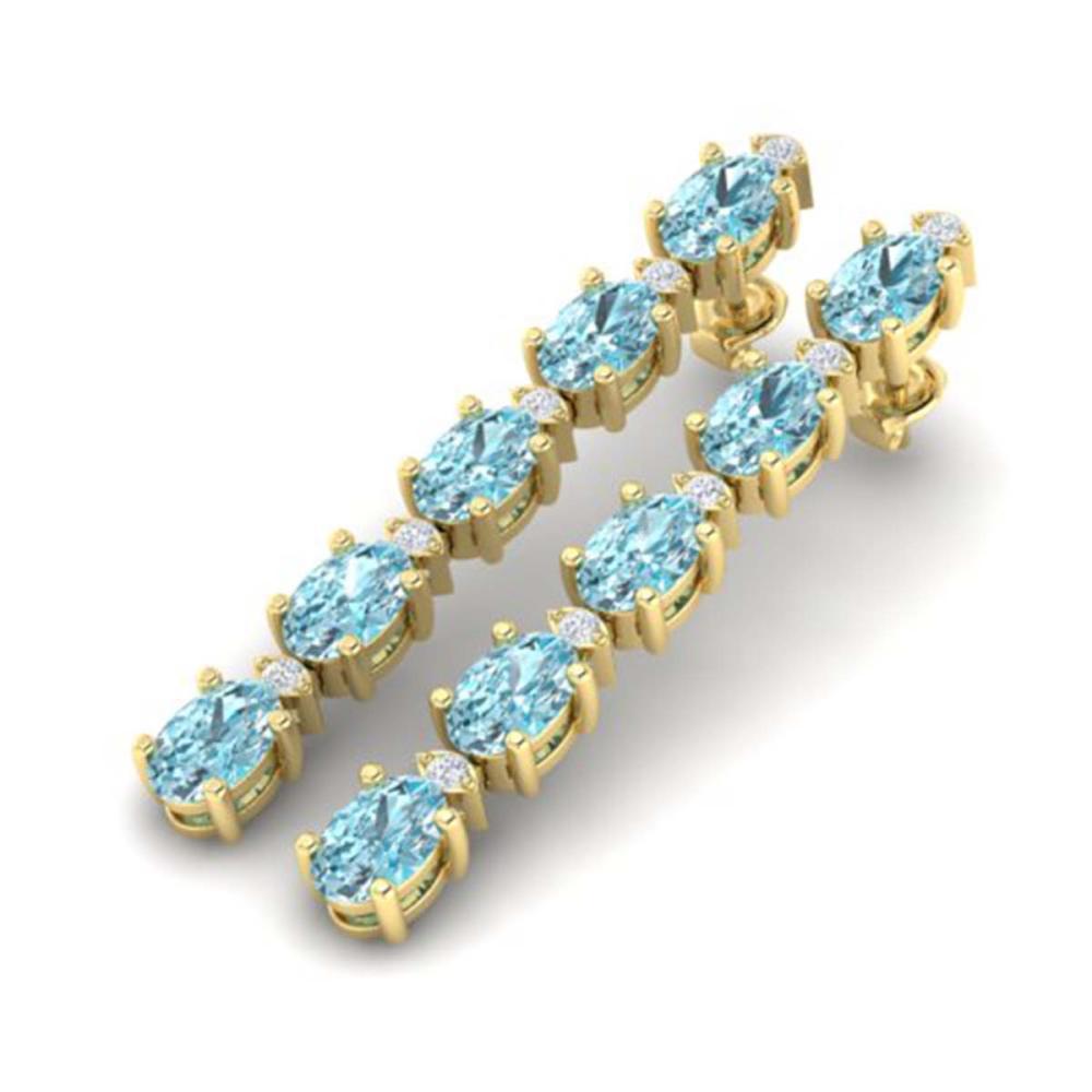 15.47 CTW Sky Blue Topaz & VS/SI Diamond Earrings Gold - REF-81N8A - SKU:29496