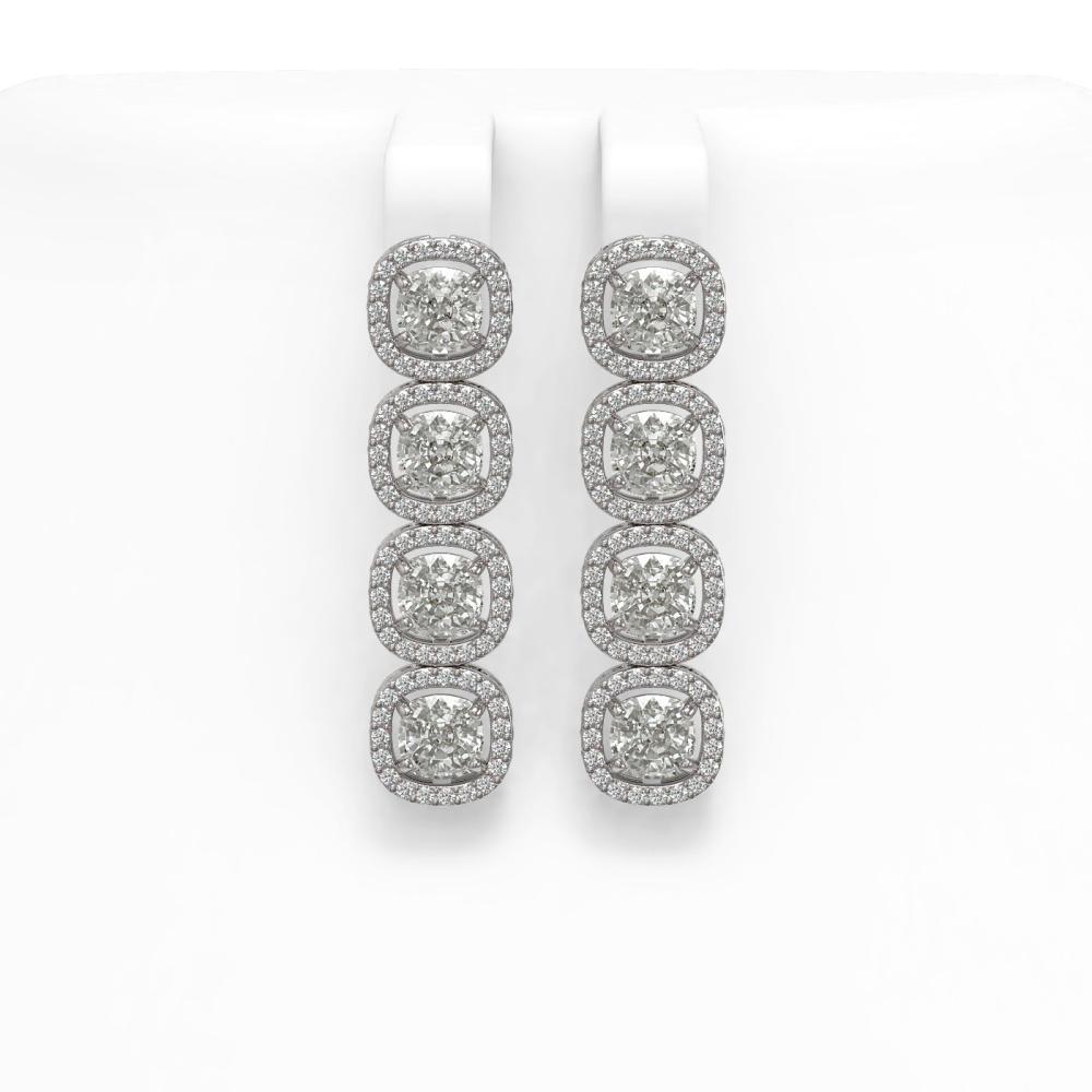 6.01 CTW Cushion Diamond Earrings 18K White Gold - REF-1127R6H - SKU:42719