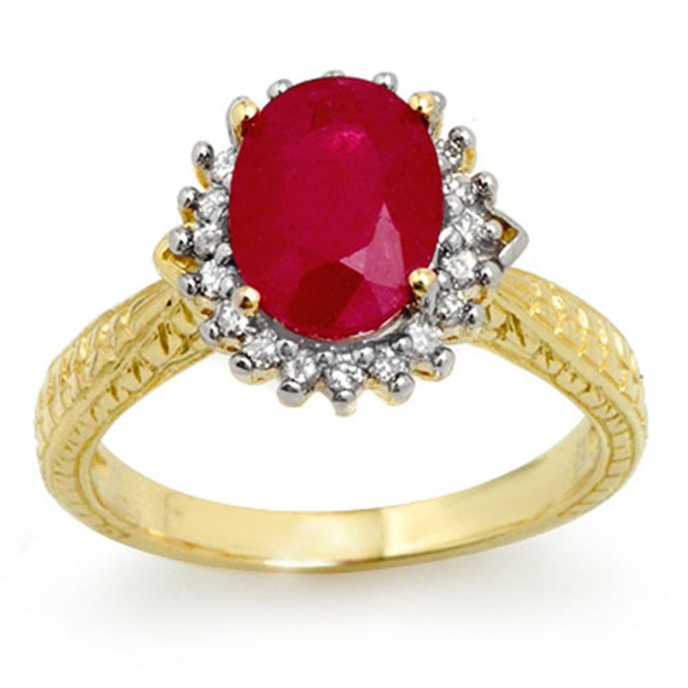 2.75 CTW Ruby & Diamond Ring 18K Yellow Gold - REF-69F3V - SKU:12328