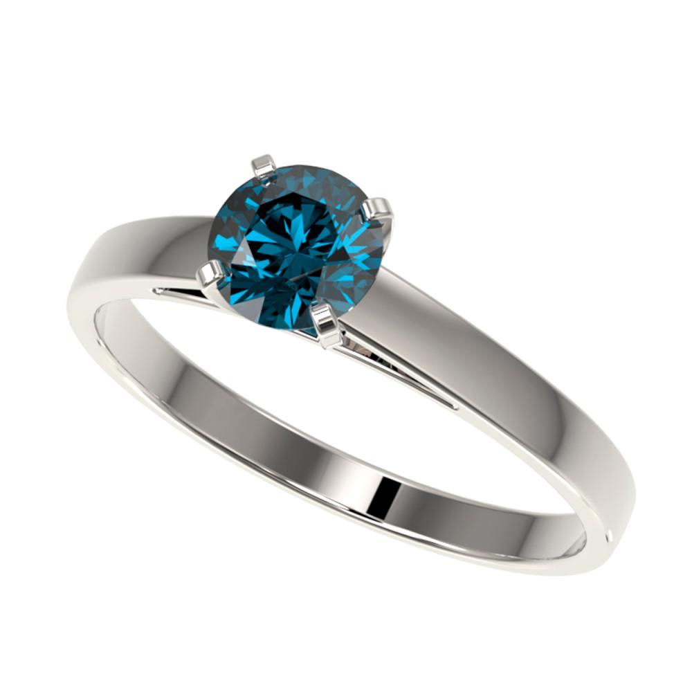 0.75 CTW Intense Blue SI Diamond Solitaire Ring Gold - REF-82F5V - SKU:32977