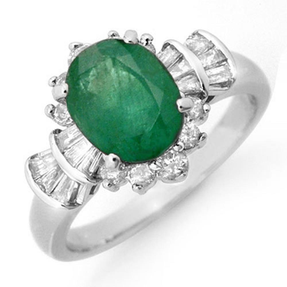 2.01 CTW Emerald & Diamond Ring 18K White Gold - REF-96W4G - SKU:13325