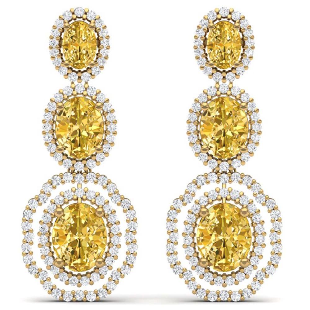 15.65 CTW Canary Citrine & VS Diamond Earrings 18K Gold - REF-290A9X - SKU:39218