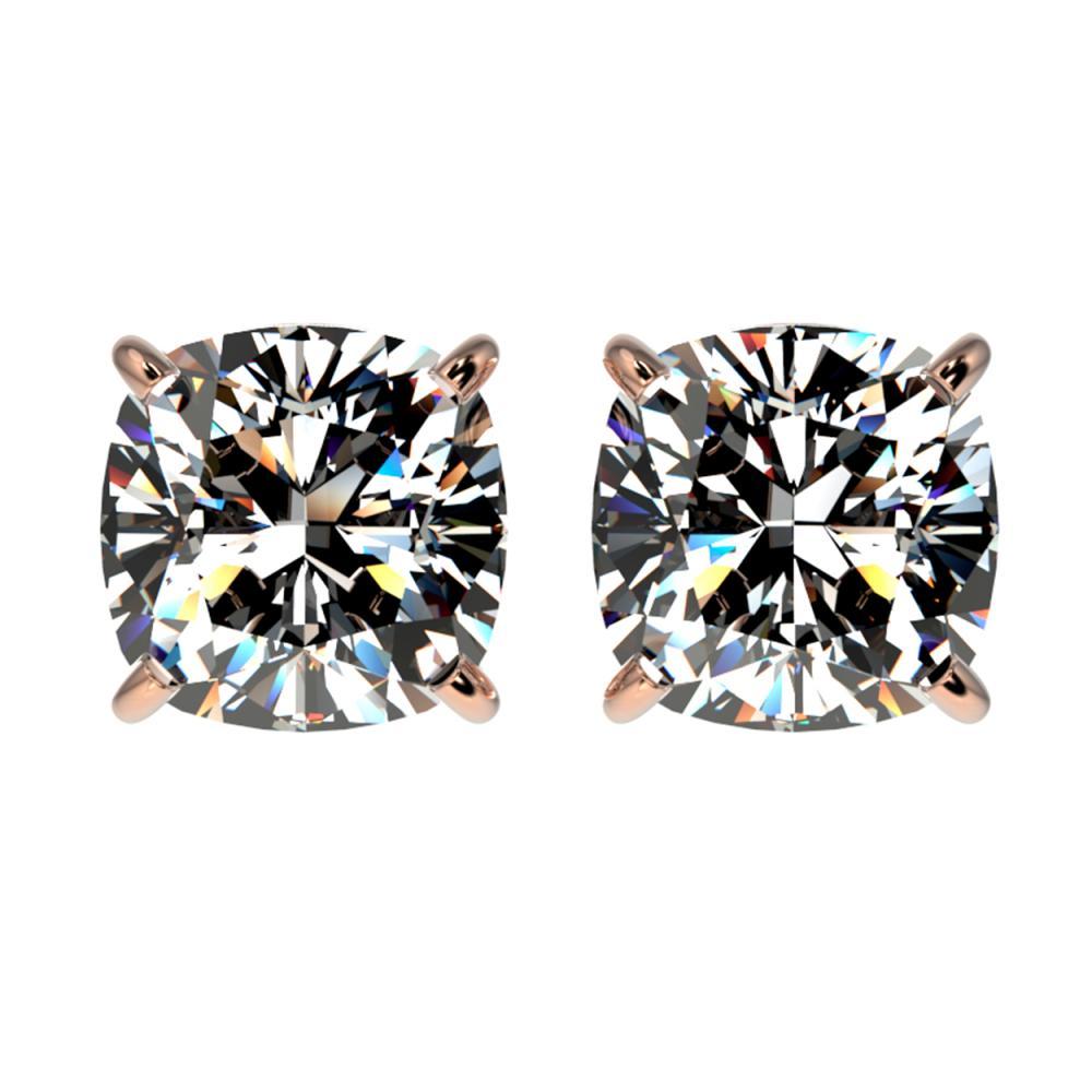 2 CTW VS/SI Quality Cushion Cut Diamond Stud Earrings Gold - REF-585R2H - SKU:33098