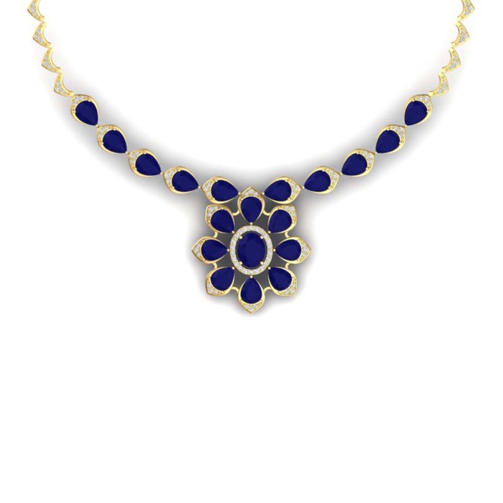 30.70 CTW Royalty Sapphire & VS Diamond Necklace 18K Gold - REF-654V5Y - SKU:39038